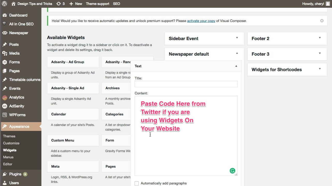 paste-twitter-wiget-code-in-wordpress-widget-area